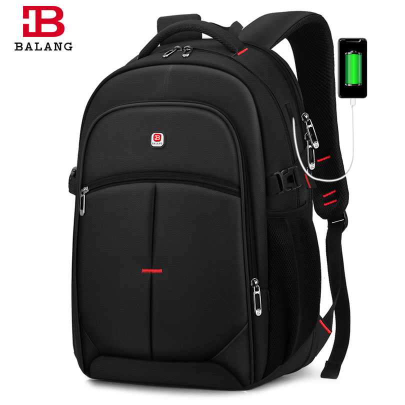 BALANG Brand 2019 New Men's Casual Backpacks Waterproof 15.6 inch Laptop backpack USB Large Capacity School Backpack for Boys image