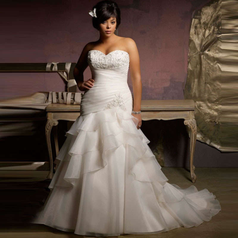 Elegant Gown Mermaid Pleats/Appliques Zip Up/Lace Up Organza Plus Size Wedding Formal Gowns