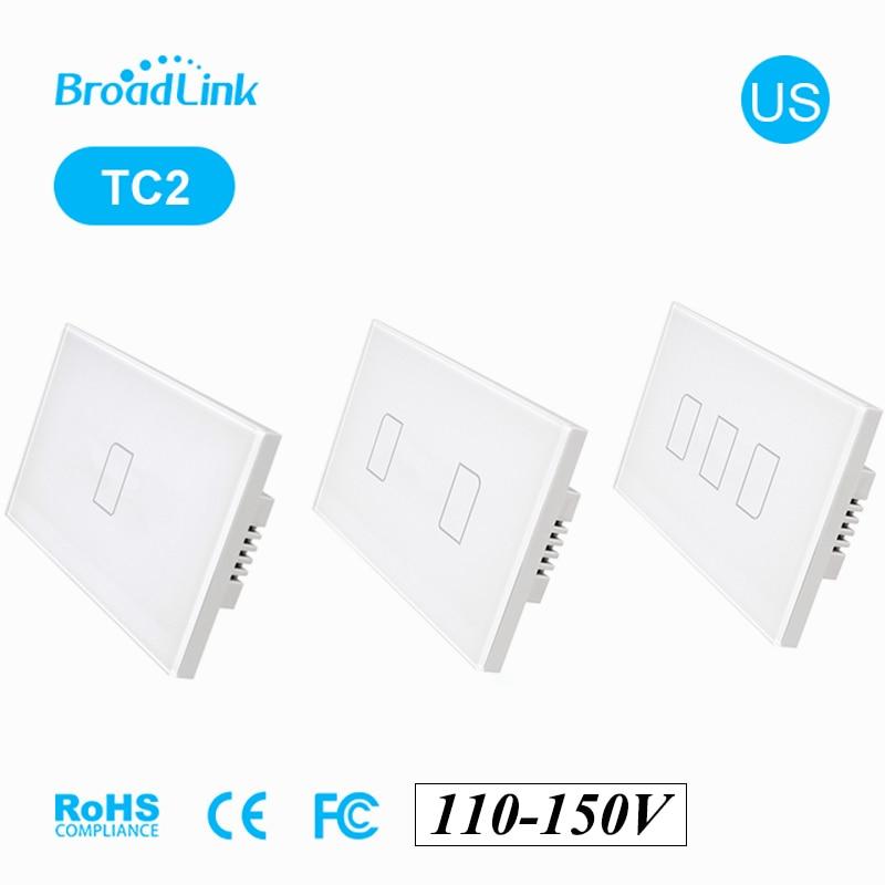 BroadLink US TC2 123 gang 110 ~ 150V 433Mhz Wifi interrupteur de lumière sans fil écran tactile télécommande par IOS Android téléphone Smart Home