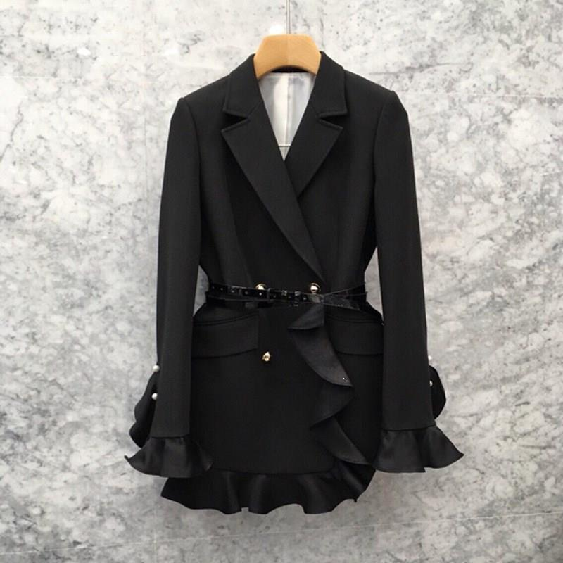 New Fashion Ruffled Waist Small Suit Solid Slim Waist Double Breasted Blazer Loose Elegant Jacket Women Autumn