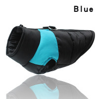 Blue-Winter Warm Dog Clothes Waterproof Pet Padded Vest Zipper Jacket Coat For Small Medium Large Dogs