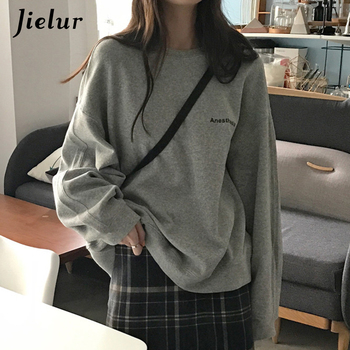 Jielur 2021 New Kpop Letter Hoody Fashion Korean Thin Chic Women's Sweatshirts Cool Navy Blue Gray Hoodies for Women M-XXL 2