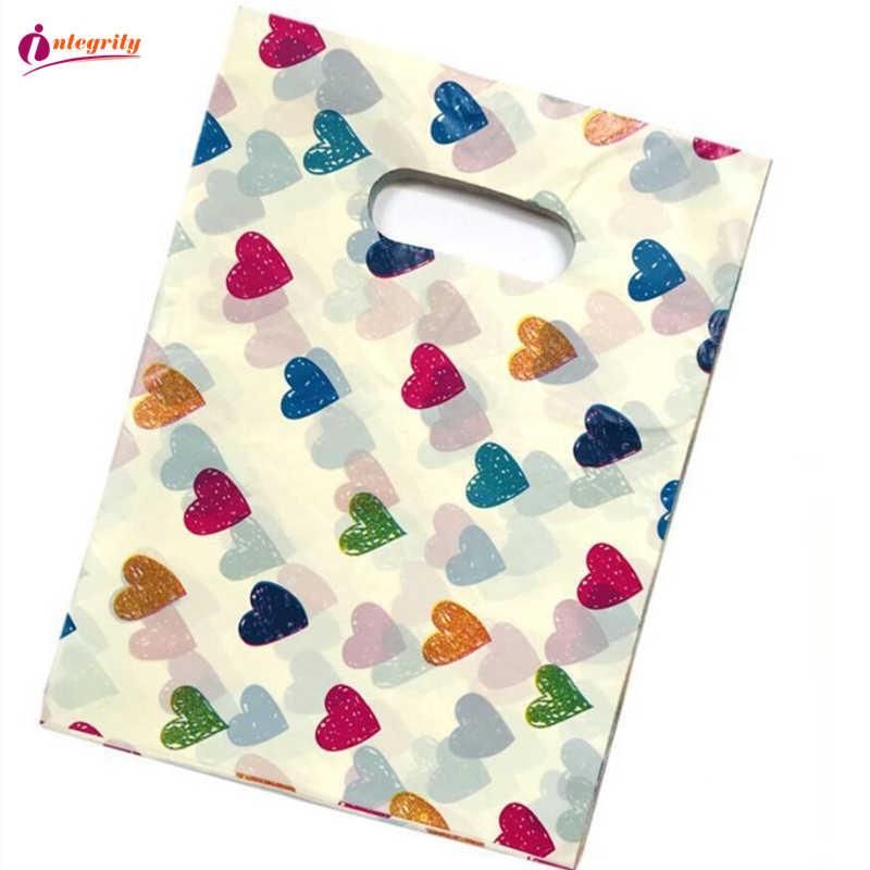 INTEGRIDADE 15*20 cm/20*25 cm 10pcs pacote de Sacos de Plástico de Jóias presentes de Casamento presentes boutique lidar Com Sacos de compras de embalagens de plástico