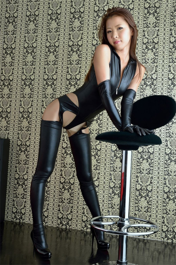 Nightclub Sexy Hot Black Patent Leather Sexy Jumpsuit Four-sided Open Leather Pants Jumpsuit Suit(With Glove)