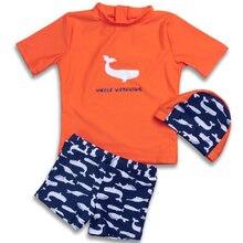 Swimwear Beachwear-Suit Short-Sleeve Rash-Guard Two-Pieces Blue Kids Children Fish Orange