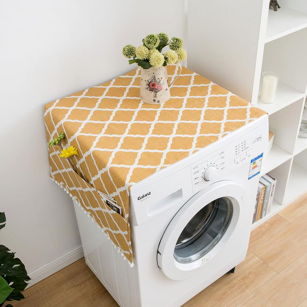 Washing Machine Dust Proof Cover Refrigerator Top Cover Microwave Oven Covers With Pocket Cotton Linen Refrigerator Organizer