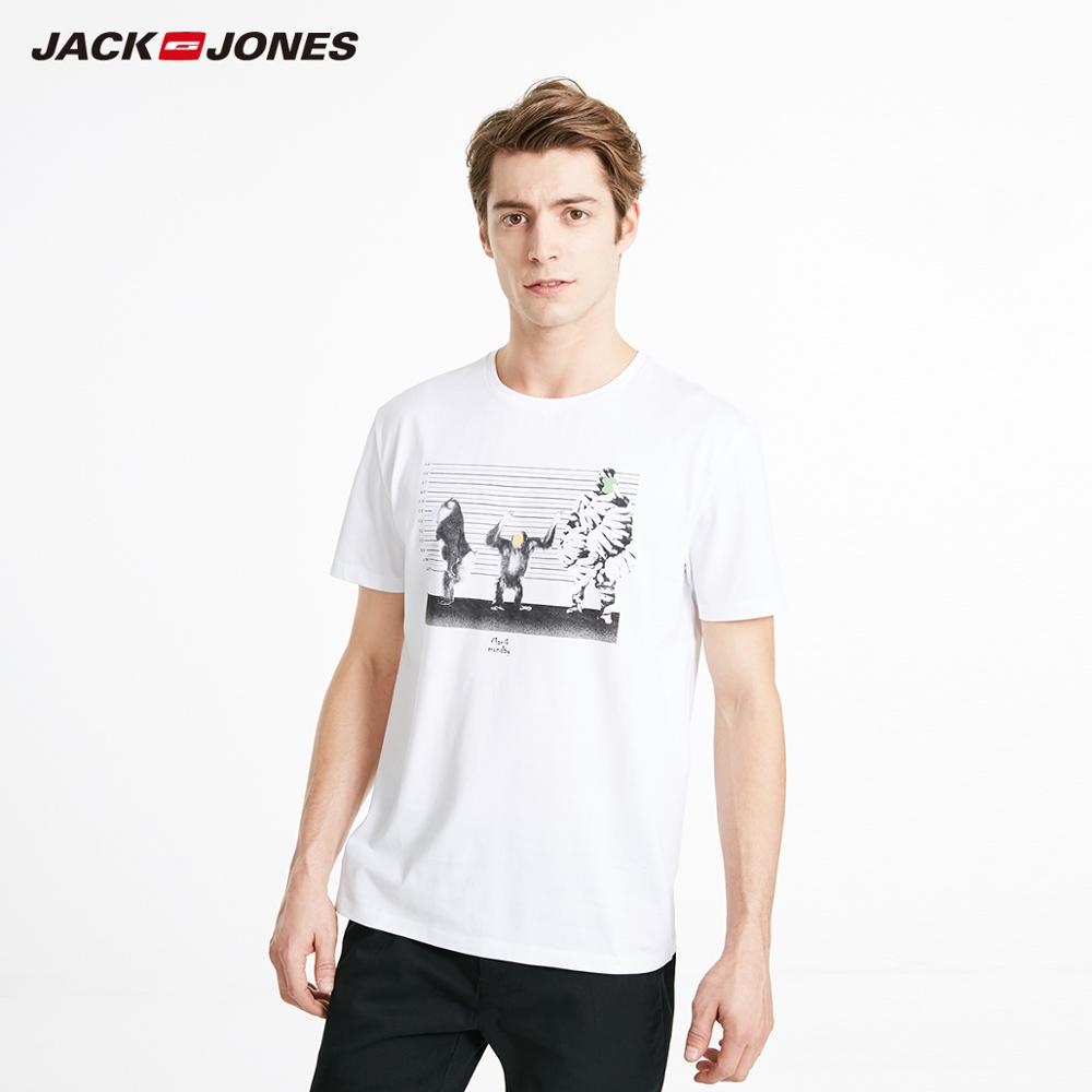 JackJones Men's 100% Cotton Printed Round Neckline Short-sleeved T-shirt Beach Style| 219201547