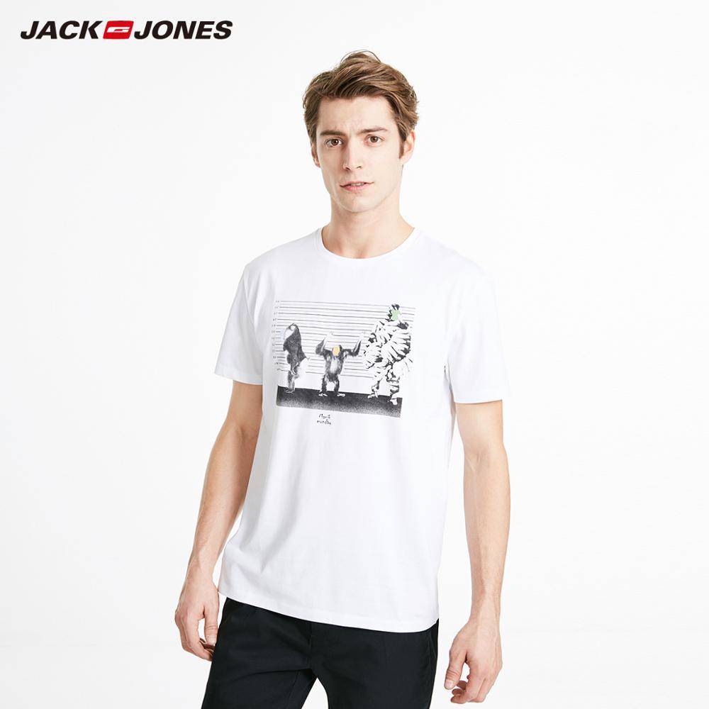 JackJones Men's 100% Cotton Printed Round Neckline Short-sleeved T-shirt Beach Style| 219201547