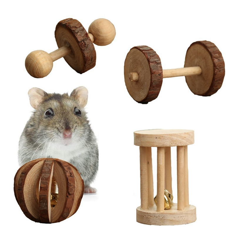 10 Pcs Set Hamster Chew Toys Natural Wooden Gerbils Rats Chinchillas Toys Accessories Dumbbells Exercise Bell Roller Teeth Care 11