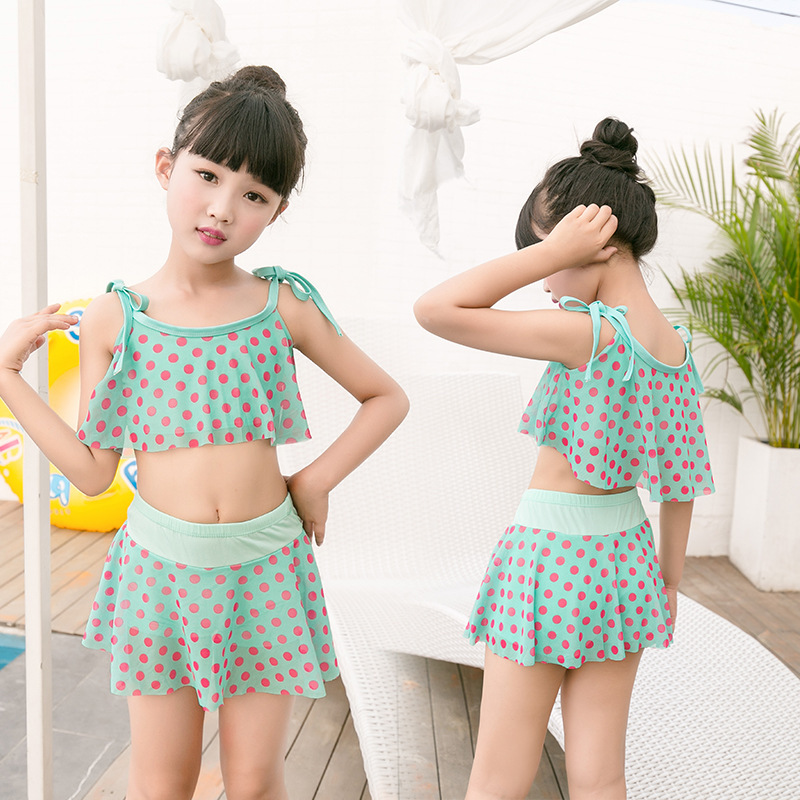 Fashion Cute Dotted Girls Swimwear Children Split Swimsuit Comfortable Briefs Hot Springs Bathing Suit