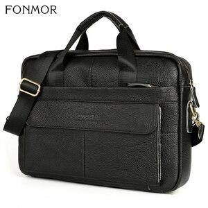 Image 5 - Портфель Fonmor мужской из натуральной кожи, сумка мессенджер через плечо для работы с компьютером, сумка тоут для ноутбука