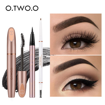 O.TWO.O 3pcs Eyes Makeup Set Ultra Fine 1.5mm Eyebrow Lengthening Mascara Long Lasting Waterproof Eyeliner Cosmetic Kit