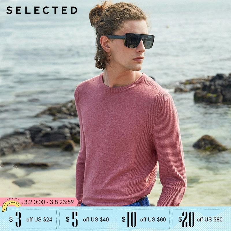 SELECTED Mens Winter Cotton Blend Pure Color Long-sleeved Round Neckline Sweater |419324519