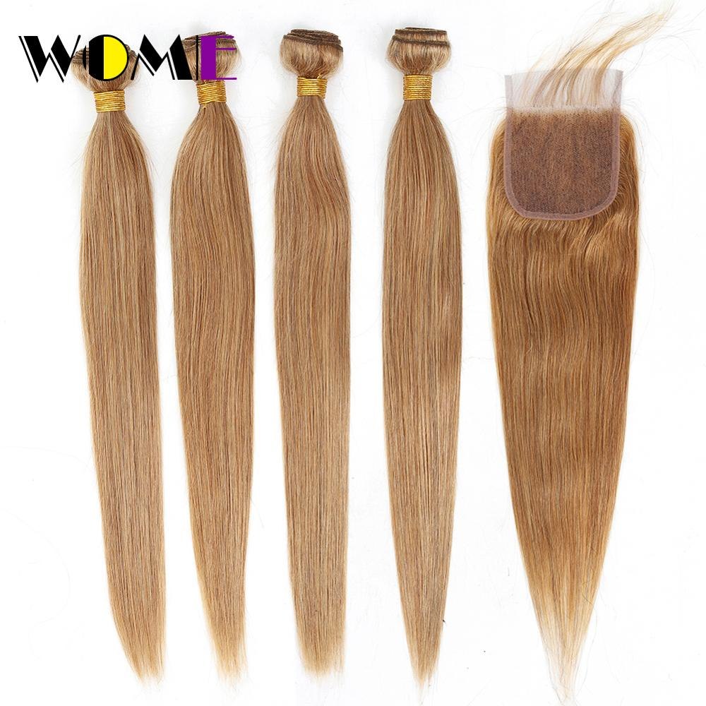 Wome Straight Honey Blonde Bundles With Lace Closure #27 Peruvian Human Hair Weave 4PCS Double Weft Hair Extenisons With Closure