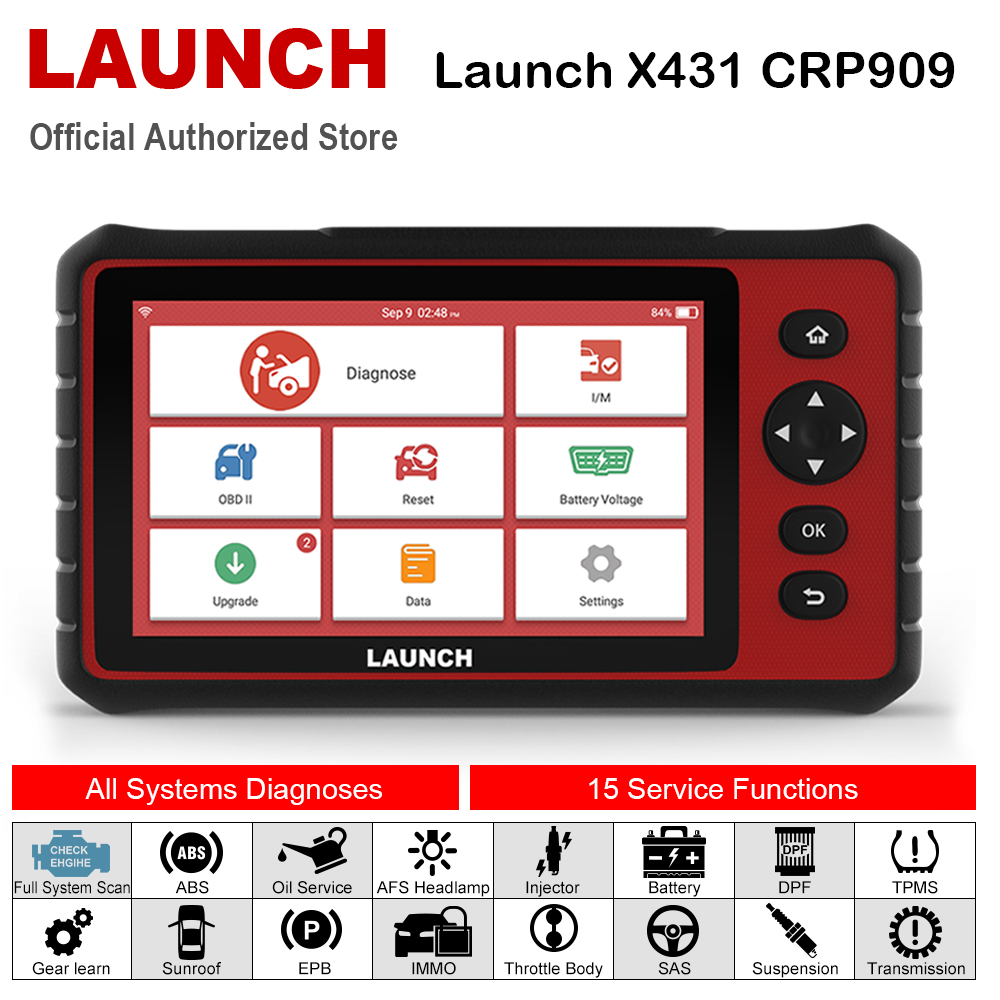 Launch x431 CRP909 Full System Wifi OBD2 Scanner DPF TPMS SAS EPB Oil Reset PK MK808 OBD 2 Automotive Scanner Car Accessories on
