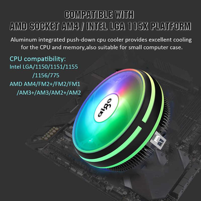 Aigo Cpu Koeler Radiator 120Mm Pwm 12V Sync Rgb Led Fan Cpu Luchtkoeling Computer Koeler Lga/1151/1155/AM3/AM4 4Pin Cpu Koeler