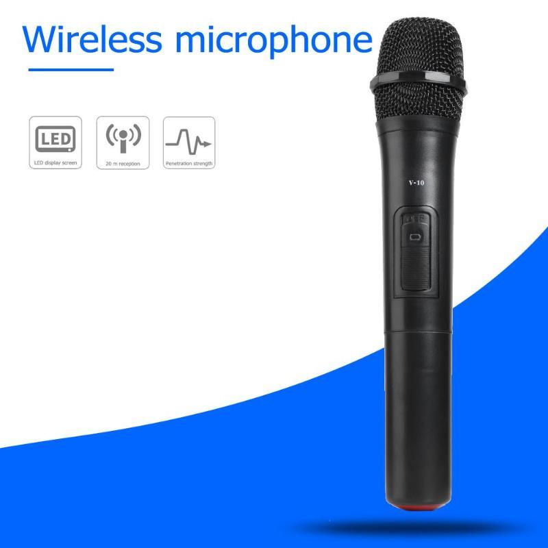 VKTECH V10 Smart Wireless Microphone Handheld Mic With USB Receiver Microphone For Studio / Karaoke / Radio Loudspeaker