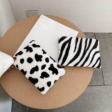 Monedero de felpa con patrón de cebra para mujer y niña, Mini bolsa de almacenamiento, tarjetero, Cartera de bolsillo