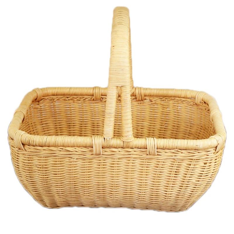 Hand-woven Wooden Basket Portable Fruit Bread Storage Basket Food Picnic Baskets