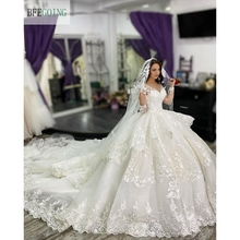 White Lace Appliques Long Sleeves V Neck Floor Length Ball Gown Wedding Dress Chapel Train Custom Made