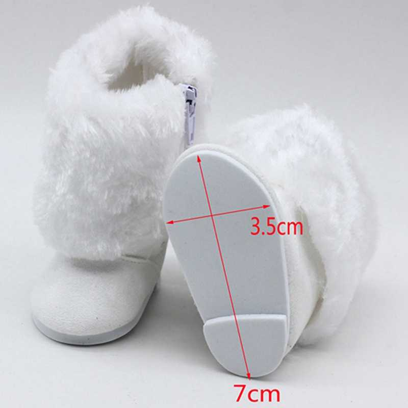 Children Girls Toys DIY Dolls Fur White Snow Boots Shoes Fit For 18 Inch American Doll Accessory Baby Girl Gift