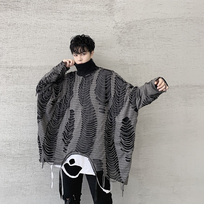 Men Oversize Double Layers Turtleneck Hole Loose Pullover Hoodie Male Women Streetwear Gothic Hip Hop Sweatshirt Stage Clothing