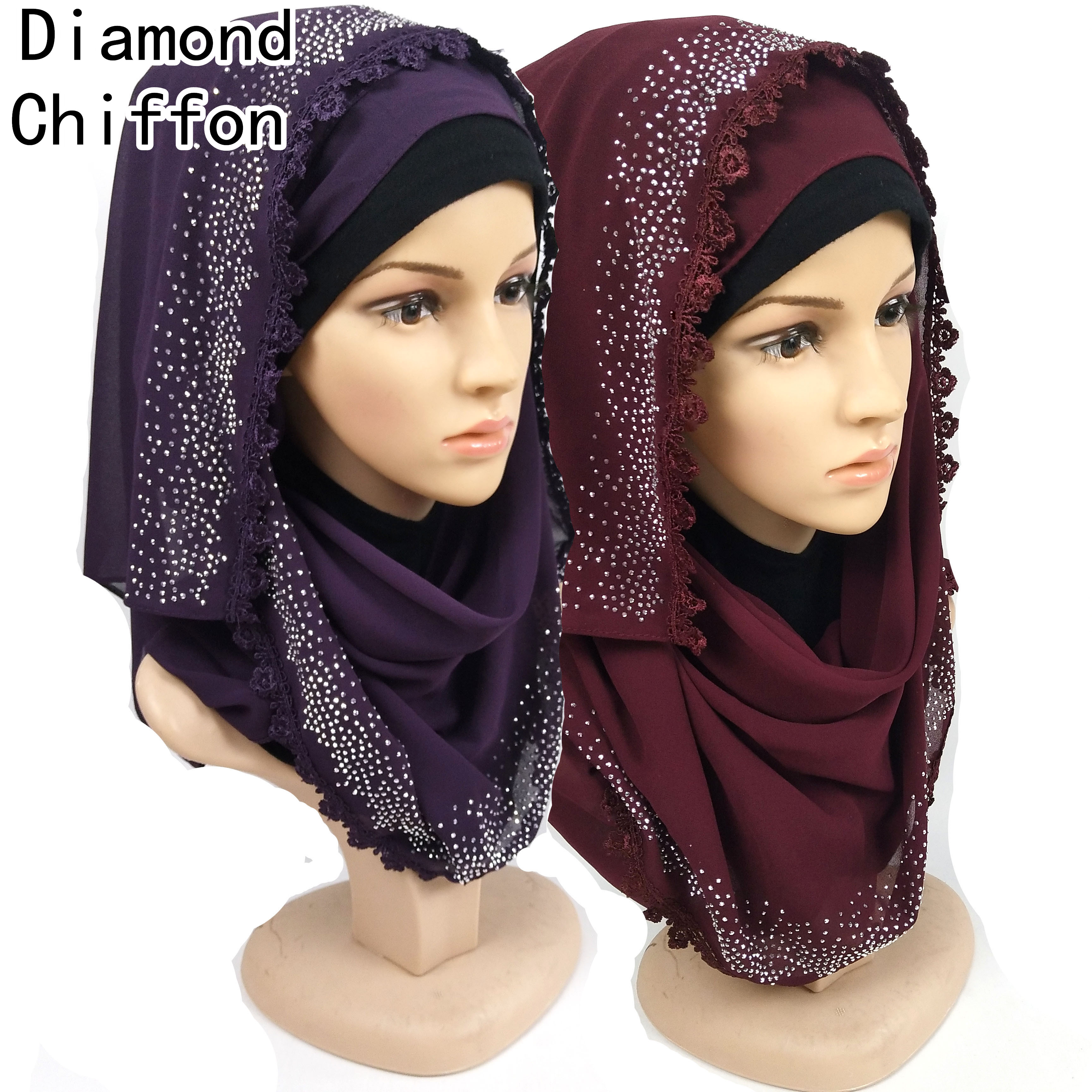 1pcs High Quality Diamond Chiffon Muslim Hijab Scarf/scarves Shawl Long Wrap Headband Can Choose Colors 180*75cm