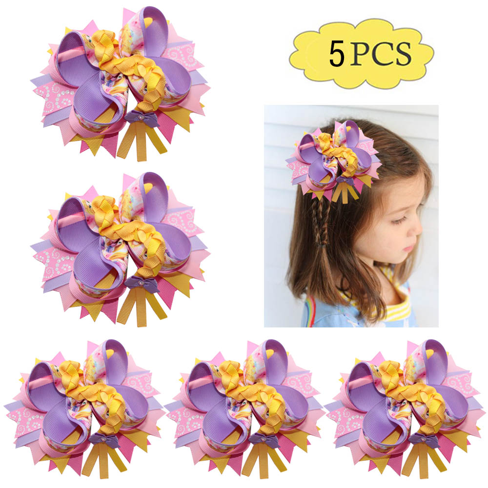 Free Shipping 5pcs 4.5-5'' Inspired Rapunzel Bows Character Princess Bow Sparkle Hair Bow  Cartoon Girl Hair Accessories