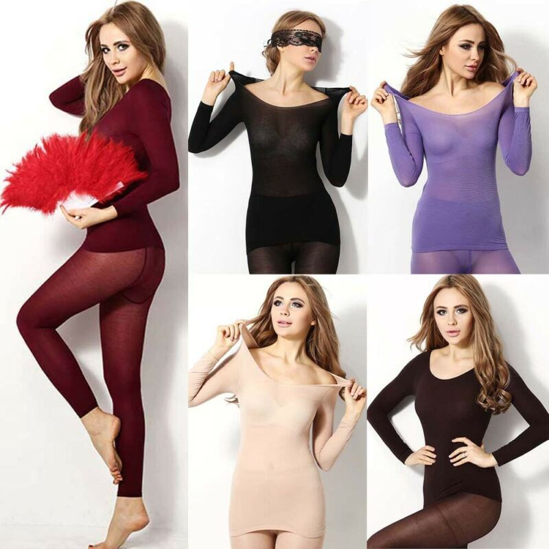 Sexy Women Winter Seamless Elastic Thermal Inner Wear Sleepwear Thermal Underwear Warmer Tops Bottom Suit 2Pcs Set