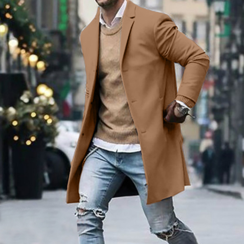 Men's Overcoat Fashion Autumn Winter Button Slim Long Sleeve Suit Jacket Trench Coat Casual high quality Mens Tops Blouse 020New 3