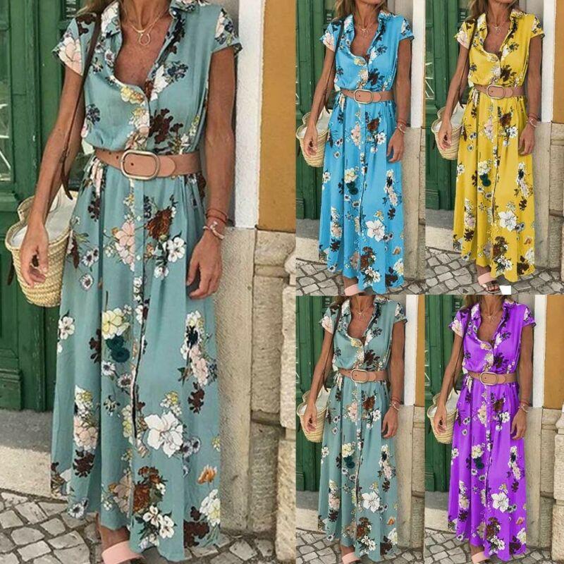 Goocheer Boho Women Summer Holiday Flower With Belt Maxi Dress V-neck Long Shirt