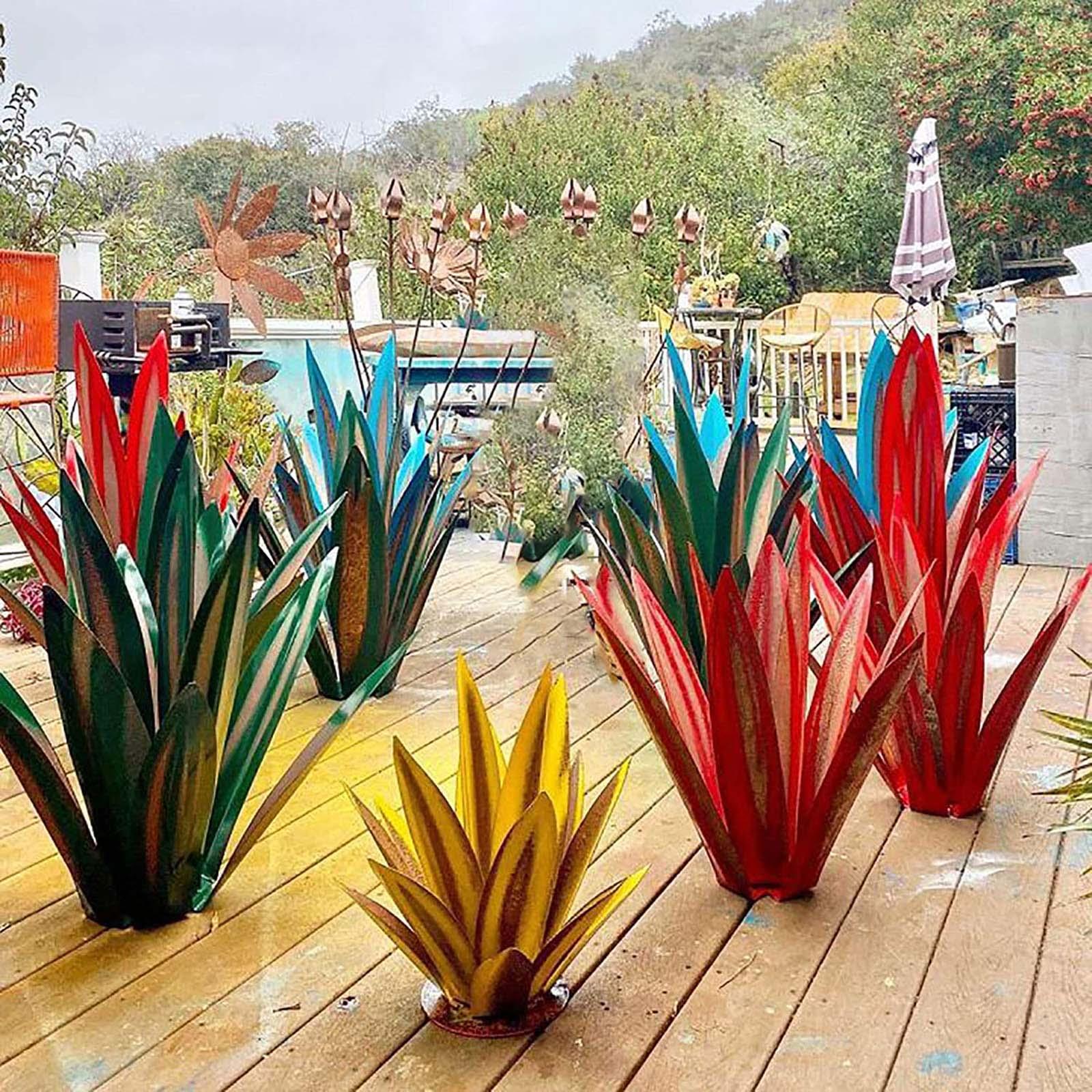 Art Tequila Rustic Sculpture Garden Decoration Yard Sculpture Home Decor tuin decoratie jardin 9 Leaves Free Shipping