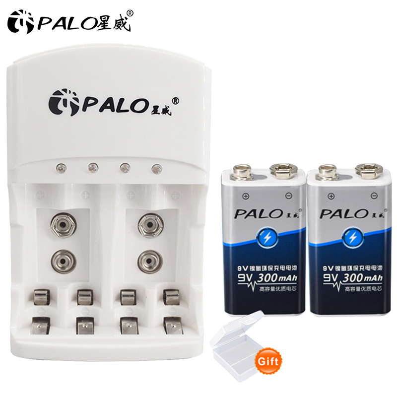 PALO 2Pcs <font><b>300mAh</b></font> Ni-MH 9V Rechargeable <font><b>Battery</b></font> + Universal 9V AAA <font><b>AA</b></font> <font><b>battery</b></font> charger for 1.2V Ni-MH Ni-CD <font><b>AA</b></font> AAA 9V <font><b>batteries</b></font> image