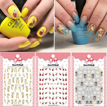 1 vel 3D Nail Art Sticker Super Leuke Egel/Giraffe/Coccinella Patroon Decals voor Nail Art Decoratie manicure(China)