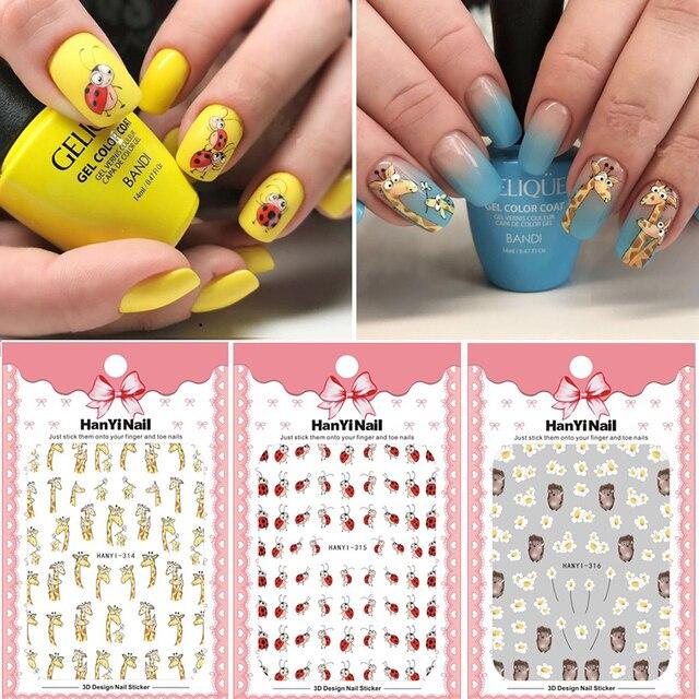 Autocollants pour ongles 3D, 1 feuille dautocollants, Super mignons, autocollants à motifs hérisson, girafe, coccinelle pour décoration des ongles