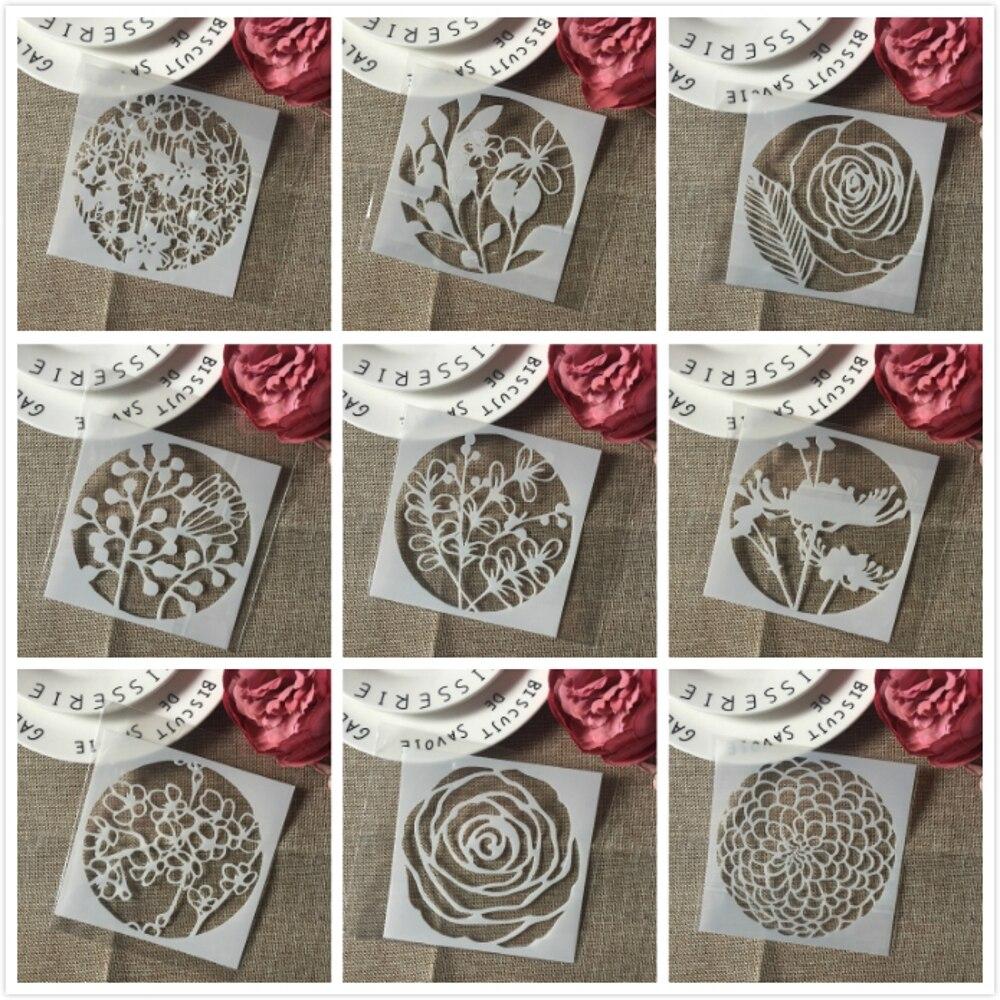 9Pcs 13*13cm Flower Daisy Rose DIY Layering Stencils Painting Scrapbook Coloring Embossing Album Decorative Card Template