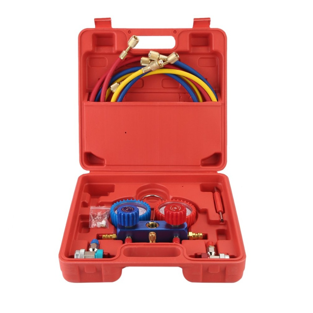 New Air Conditioning AC Diagnostic High Low Pressure Manifold Gauge Refrigerant Tool Set R-134A With Carry Box Household