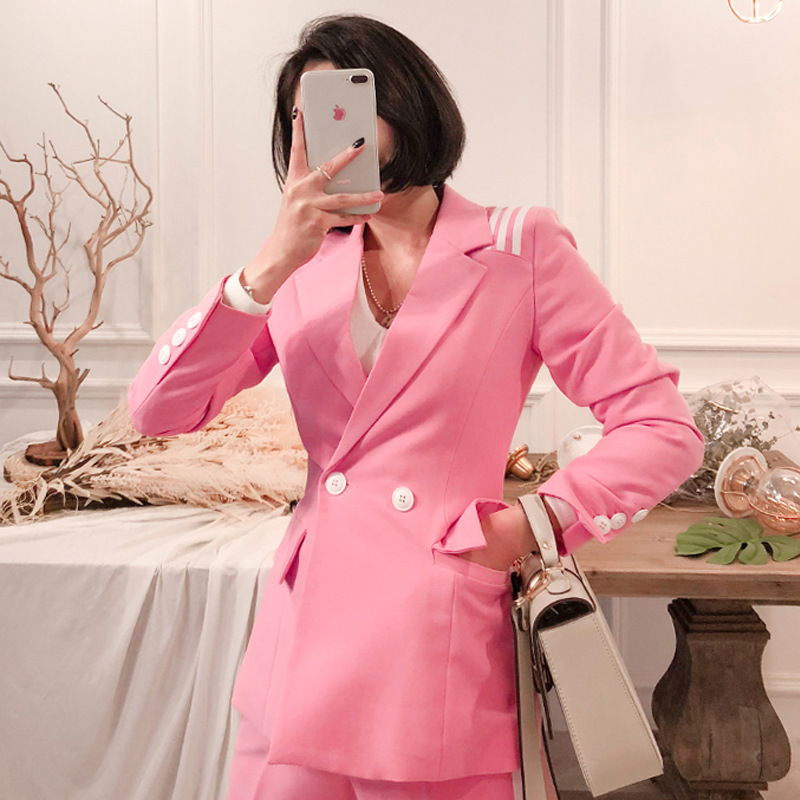 New Autumn Women's Suits Slim Trousers Suit Two-piece Suit Casual Double-breasted Pink Ladies Coat Casual Trousers High Quality