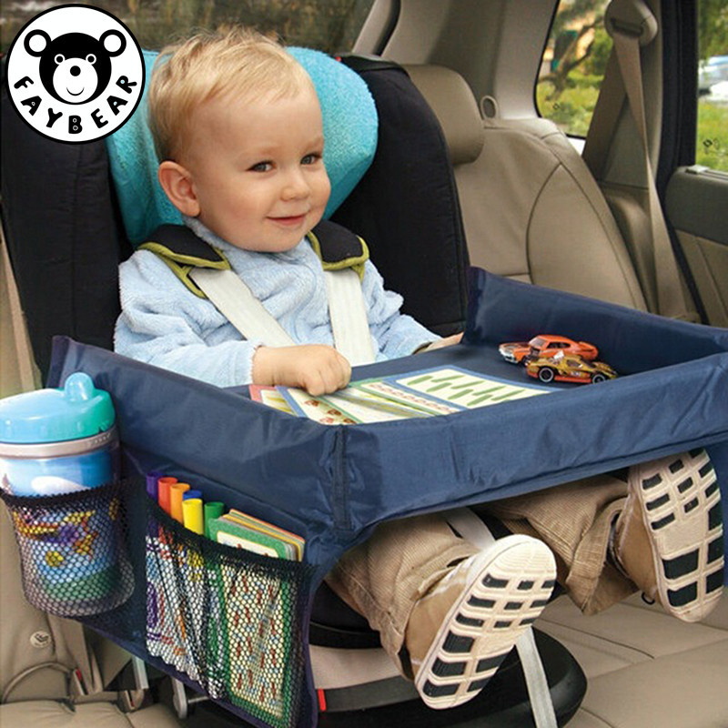 Table Waterproof Car Seat Tray Storage Kids Toys Infant Stroller Holder For Children Dining And Drink  In-car Travel Trays