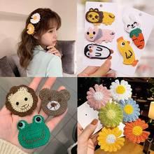 Handmade Knitted Cartoon Flowers Hair Pins For Girls Animal Barrettes Baby Girls Hair Accessories Felt Fabric Headwear 2021 New