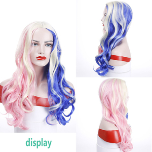 """Image 5 - MUMUPI 20"""" Pink Blue Blonde Mix Harley Quinn Suicide Squad Batman Synthetic Wig Harleen Quinzel Cosplay Costume Wig Hair"""