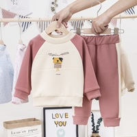 Kids Baby Toddler Girl Boy Clothing Set 2019 Causal Dog Panttern Long Sleeve T shirt + Striped Pants 1 2 3 4 Y Children Clothes