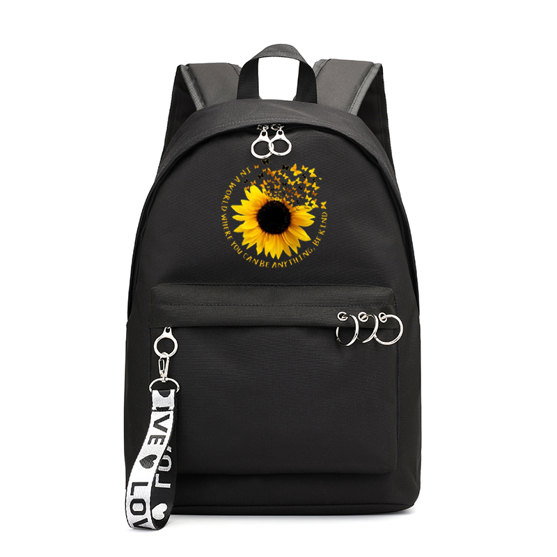Fashion Women Waterproof Nylon Backpack Female Large Capacity Travel Bag Korean Sunflower Girl Shoulder Bags Schoolbag Mochila