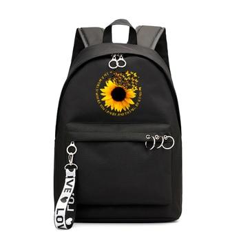 цена на Fashion Women Waterproof Nylon Backpack Female Large Capacity Travel Bag Korean Sunflower Girl Shoulder Bags Schoolbag Mochila