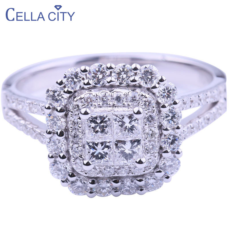 Cellacity Classic 925 Sterling Silver Rings For Women AAA Zircon Women Silver Fine Jewelry Wedding Party Wholesale Gift  6-10
