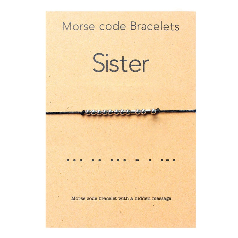 Sister Morse Code Bracelet Stainless steel Beads on Silk Cord, Always My Sister, Forever My Friend -Perfect Sister Birthday idea image