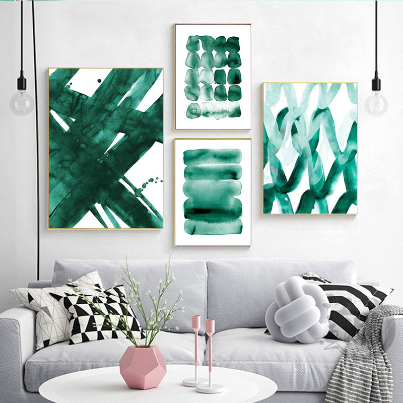 Abstract Poster Teal Green Wall Art Pictures Living Room Decor Emerald Green Canvas Painting Watercolou Posters And Prints Painting Calligraphy Aliexpress