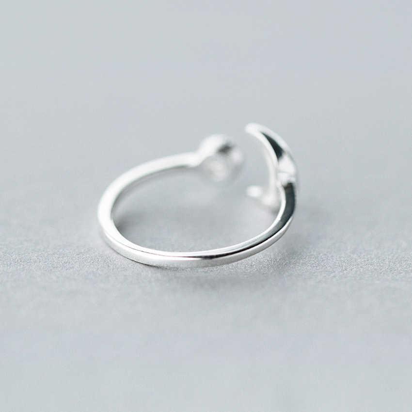 CZ Crescent Moon Anel Knuckle Anel de Cristal Ajustável Anéis Abertos Para As Mulheres Menina Moda Jóias Bijoux de Prata Presentes de Aniversário