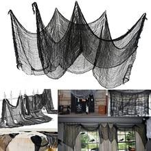HOT SALES!!! Black Halloween Creepy Gauze Large Grid Yarn Cloth Door House Decor Gothic Props Halloween Party Decoration