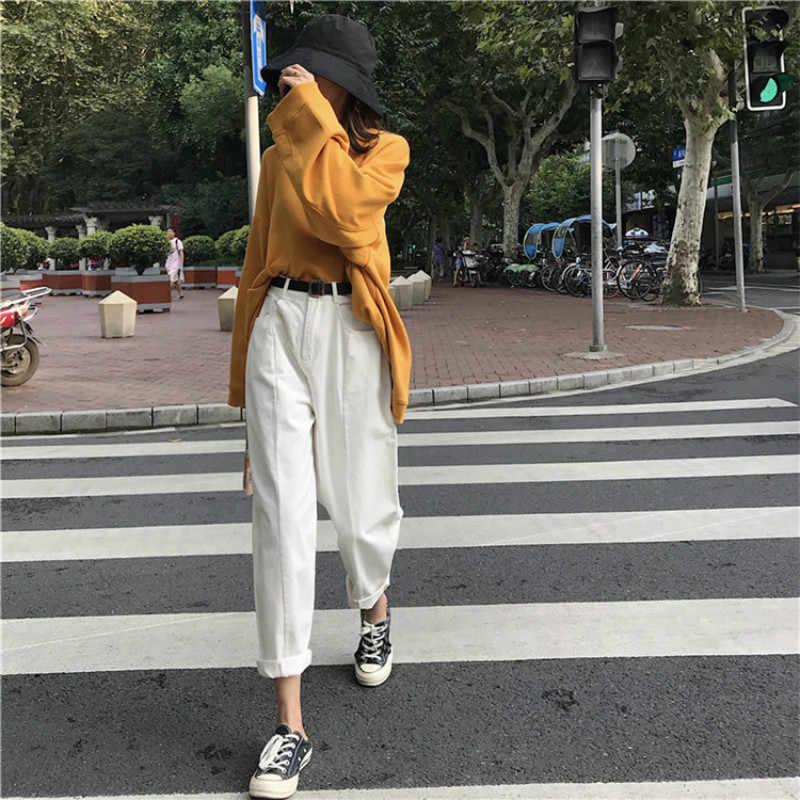 Джинсы женские Kawaii милые универсальные простые Harajuku уличная мода 2019 повседневные с высокой талией свободные джинсовые женские брюки шикарные
